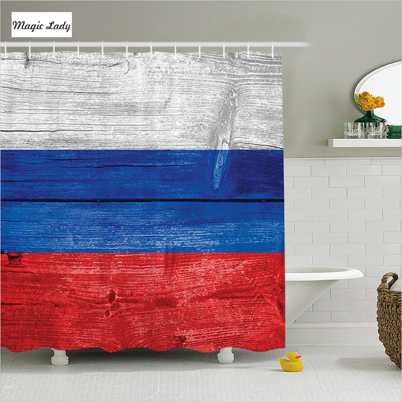 Bath shower curtains flag bathroom accessories stripes for Red white and blue bathroom accessories