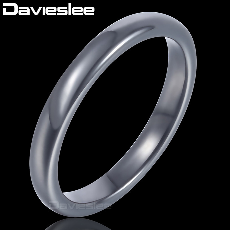 Davieslee Polished Band Ring Mens Boys Wedding Engagement Tungsten Carbide Black 3mm DTR21