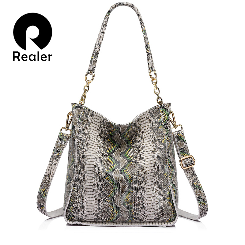 REALER brand new arrival genuine leather handbag women shoulder bag female serpentine prints tote bag ladies messenger bag 100% genuine leather women bags luxury serpentine real leather women handbag new fashion messenger shoulder bag female totes 3