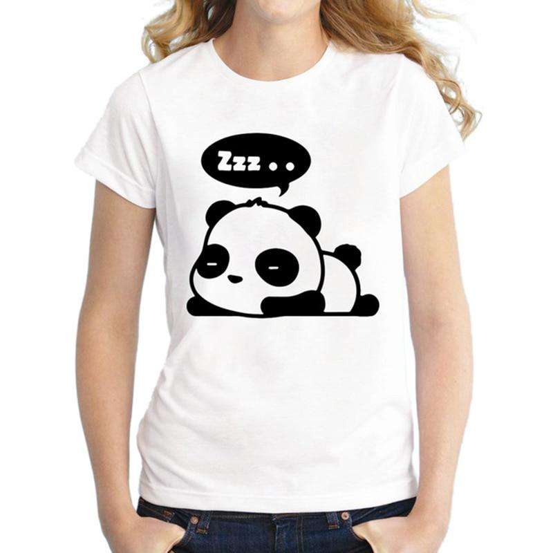 100% Puro Cotone T-shirt Estate 2017 Di Modo Di Vendita T Shirt Collo Rotondo Adorabile Panda Carino Tshirt Donne Kawaii Vestiti Casual Design Moderno