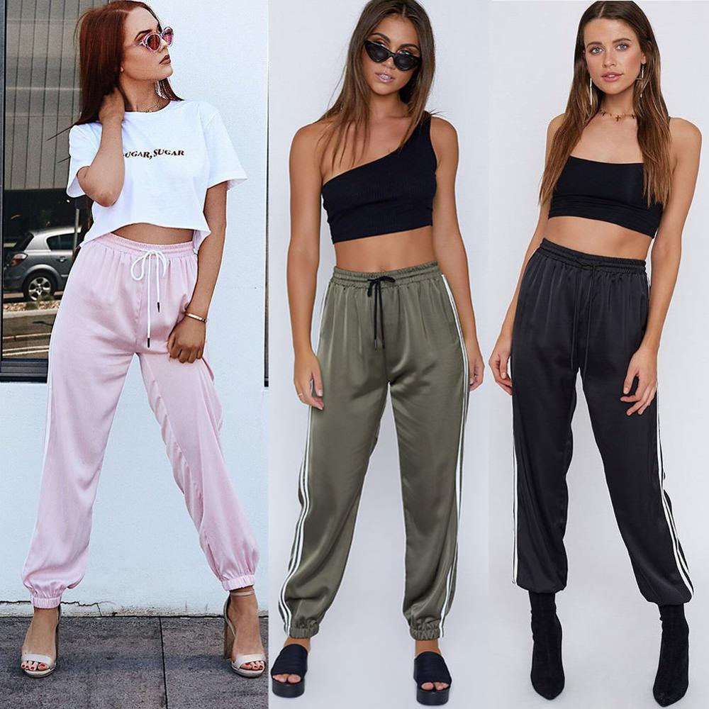 High arrival Women Sexy Pants Striped Side Loose Drawstring Elastic High Waist Slim Pencil Casual Long Trouser