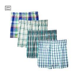 12PCS Plus size Classic Plaid Men's Boxers Cotton Mens Underwear Trunks Woven Boxer Waistband 5XL 6XL male hom underwear
