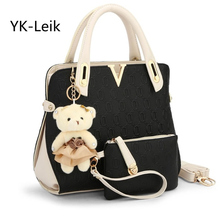 YK-Leik Casual Embossed handbag designer handbags high quality women messenger bags lady shoulder bag 2 bags/set with bear toy