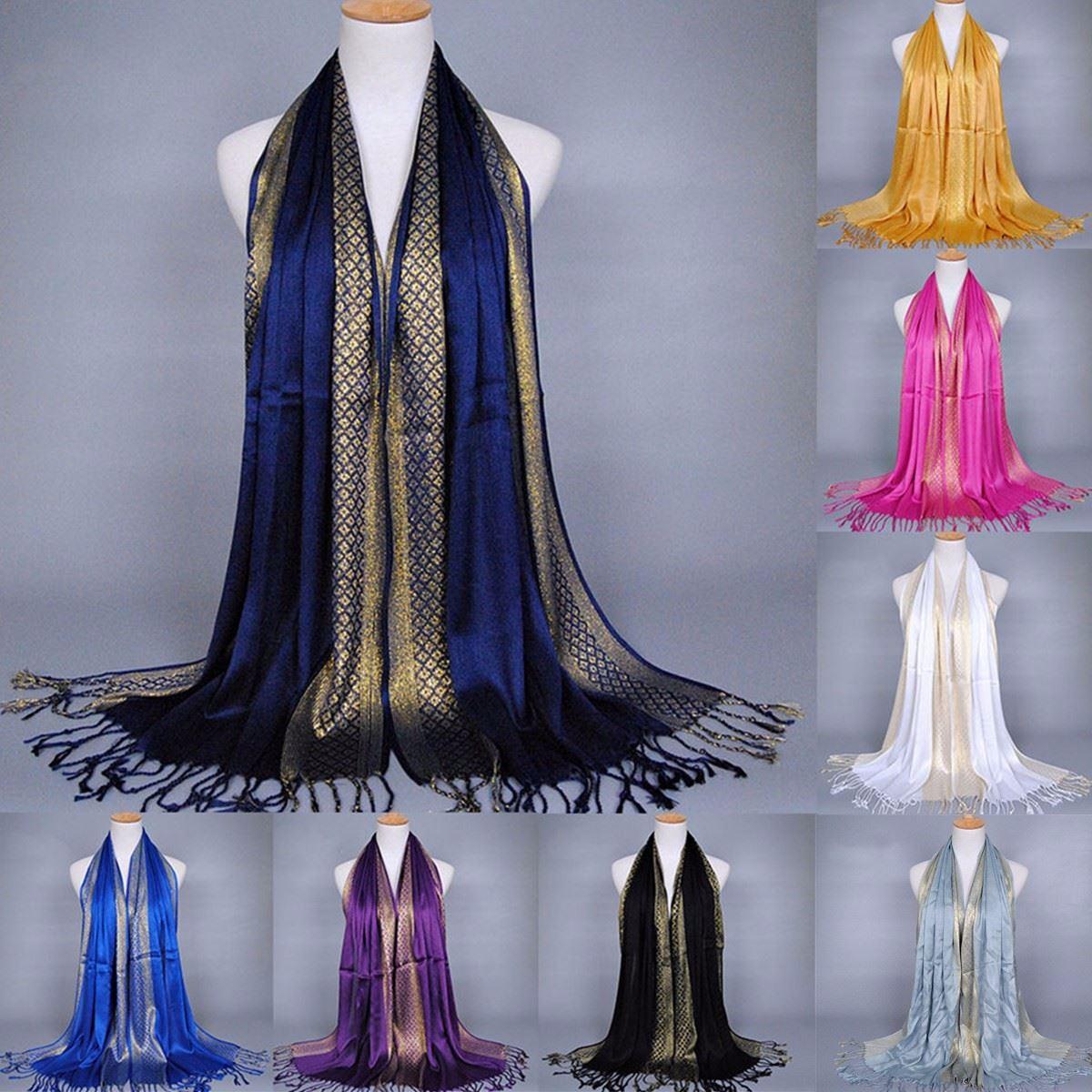 Women Tassel Pashmina Silk Scarf Lady Shade Stole Shawl Wraps Cotton Soft Muslim Hijab Scarves Plaid Long Retro Fringe Poncho