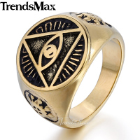 Mens Jewelry Illuminati Pyramid Eye Symbol 316L Stainless Steel Signet Ring HR365