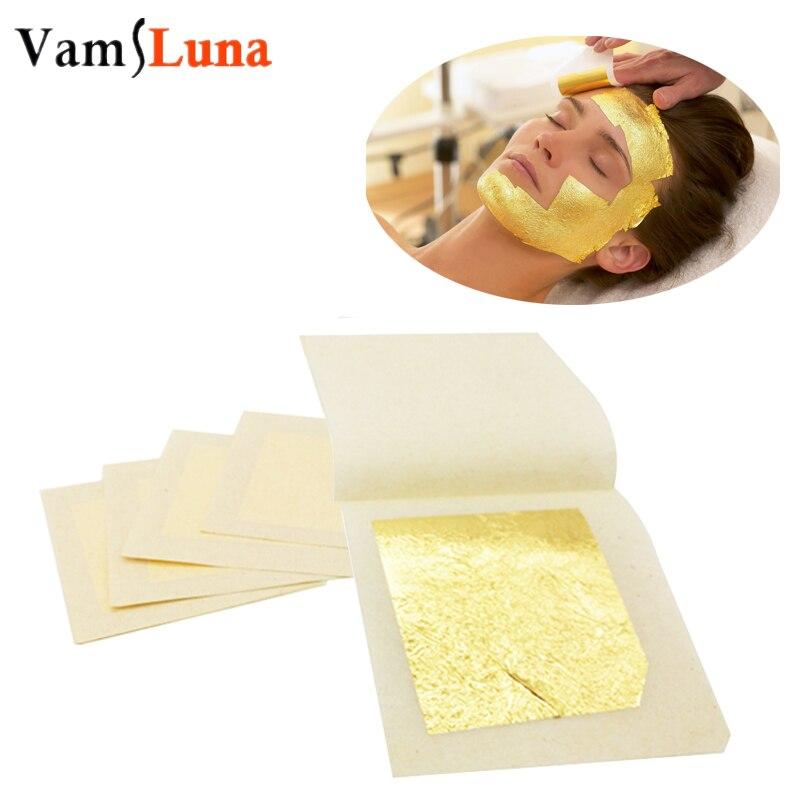 10pcs Pure Gold Leaf Facial Mask 4.3X4.3CM For Anti-aging Spa Massage 24k 100%