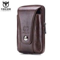IPhone 7 Plus Belt Clip Pouch Genuine Leather Vertical Cellphone Holster Waist Belt Bags For Men