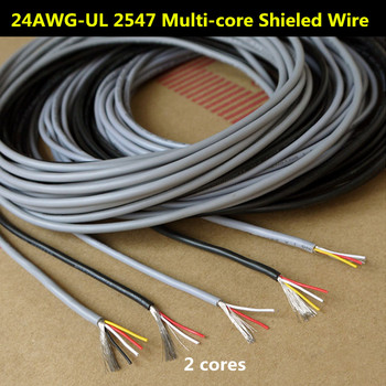 24AWG 2 Cores Multicores Shielded Wires Tinned Copper Controlled Cable Headphone Cable UL2547 Black & Gray color Audio Lines image