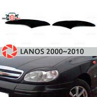 Cejas para Chevrolet Lanos 2000 ~ 2010 para faros cilia pestañas moldeadas de plástico decoración de molduras de diseño de coche