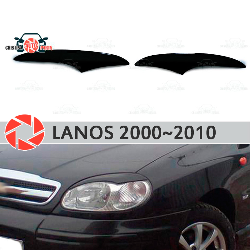 Eyebrows for Chevrolet Lanos 2000 2010 for headlights cilia eyelash plastic moldings decoration trim car styling