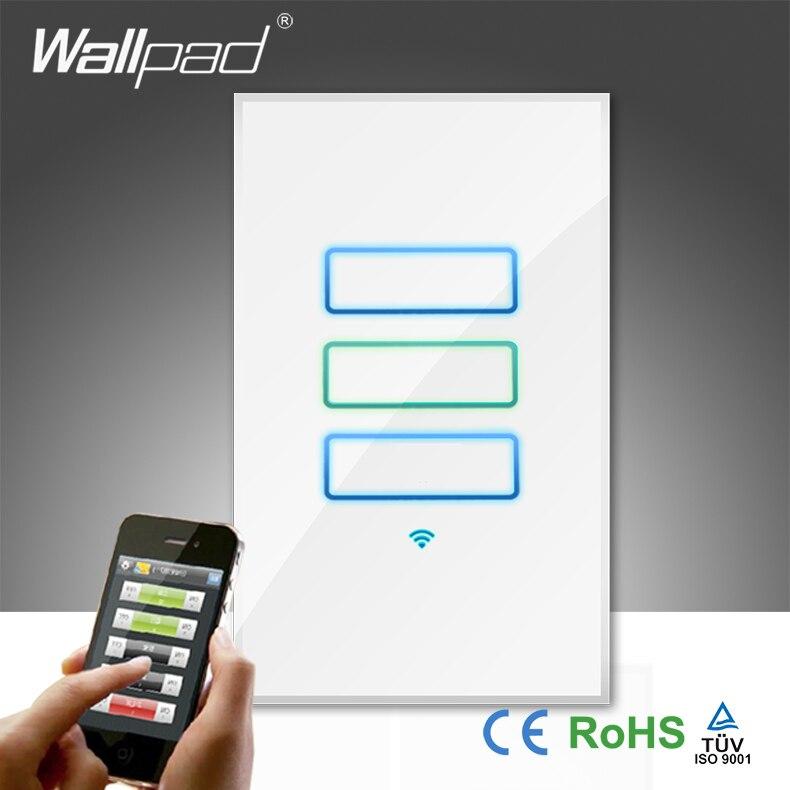 Wallpad de luxe lumière LED en verre blanc AU US 110 ~ 250 V 3 Gang 1 voie 2 voies téléphone Wifi sans fil télécommande interrupteur mural