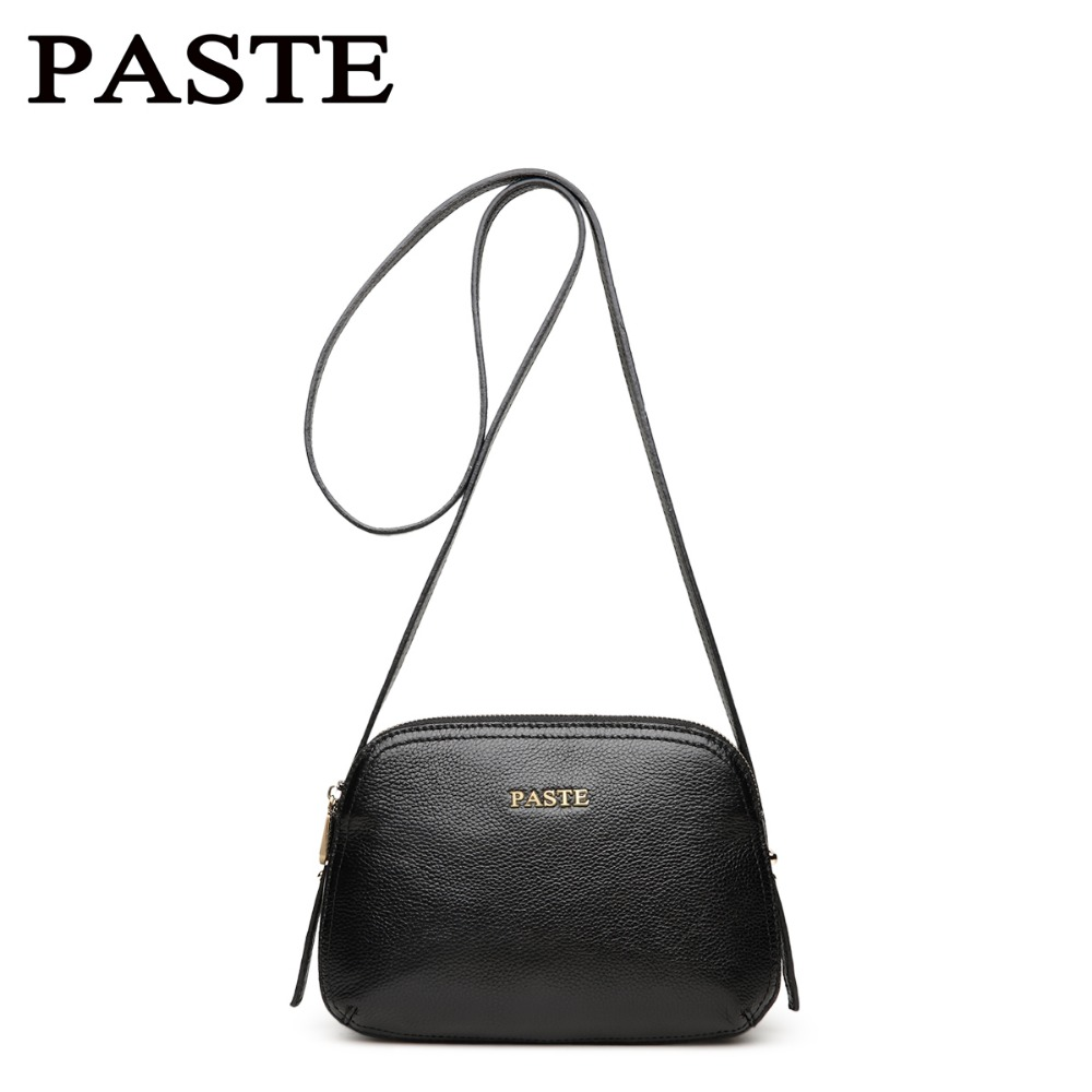 PASTE Women High Quality Shoulder Bags Small Crossbody Bag Genuine Leather Cow Leather Casual Messenger Bag Fashion Shell Bag high quality pneumatic paste