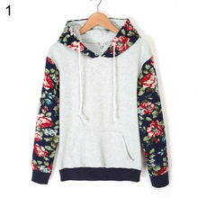 Fashion Lady Casual Long Sleeve Patchwork Floral Loose Hoodie Sweatshirt Women Pullovers Mujer Felpe con cappuccio