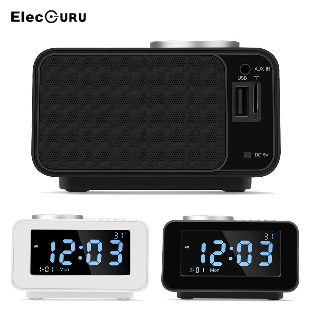 3-in-1 Bluetooth Speaker+Digital Alarm Clock FM Radio TF Card/AUX/USB Music Play With Indoor Temperature Time Display USB Charge цена