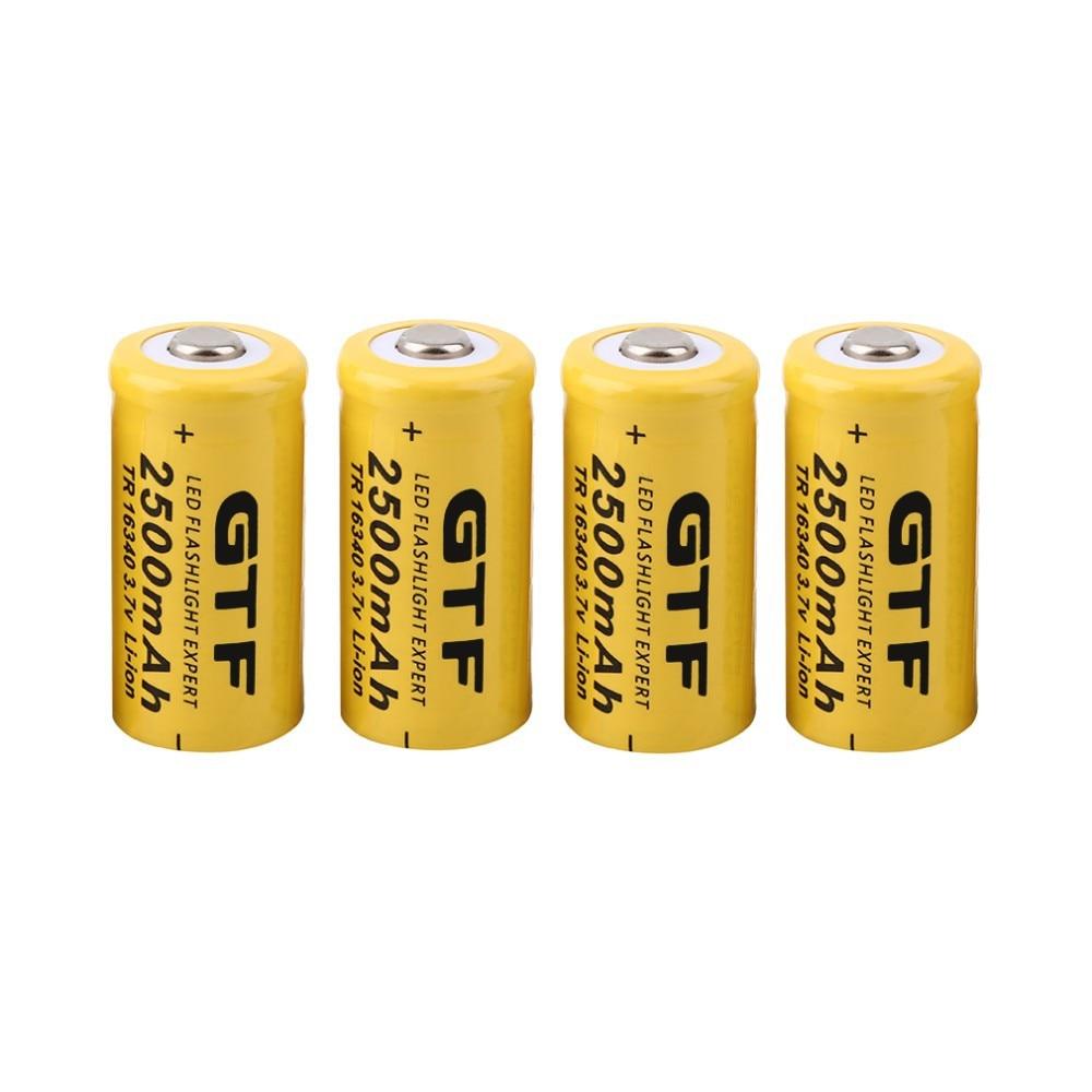 GTF 4pcs Universal 16340 2500mAh 3.7V Li-ion Rechargeable Batteries For Flashlight Headlamp