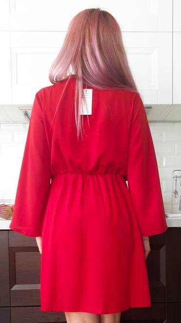 Vintage Long Sleeve Chiffon Summer Dress Women Black Bow Office Bandage Dresses Sexy Red Female Ladies Short Dress Festa photo review
