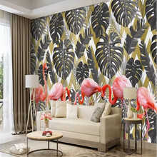 Nordic leaf plant flamingo TV background wall factory wholesale wallpaper mural custom photo