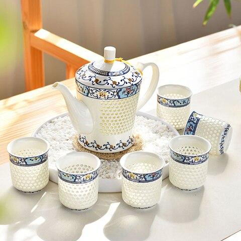 China green flower porcelain exquisite tea cup Jingdezhen honeycomb hollowed ceramic Kung Fu tea set teapot coffee suitChina green flower porcelain exquisite tea cup Jingdezhen honeycomb hollowed ceramic Kung Fu tea set teapot coffee suit