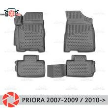 Для Lada Priora 2007-2017 коврики Нескользящие полиуретан грязи защиты внутренних Тюнинг автомобилей аксессуары