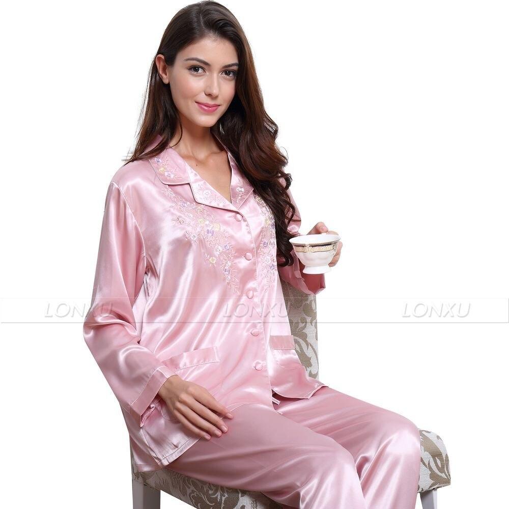 4b05f6216192 Sleepwear   Robes Pink Ladies Satin Pyjamas Silk Pjs Winter Pajamas  Sleepwear Plus Sizes 6 to 26