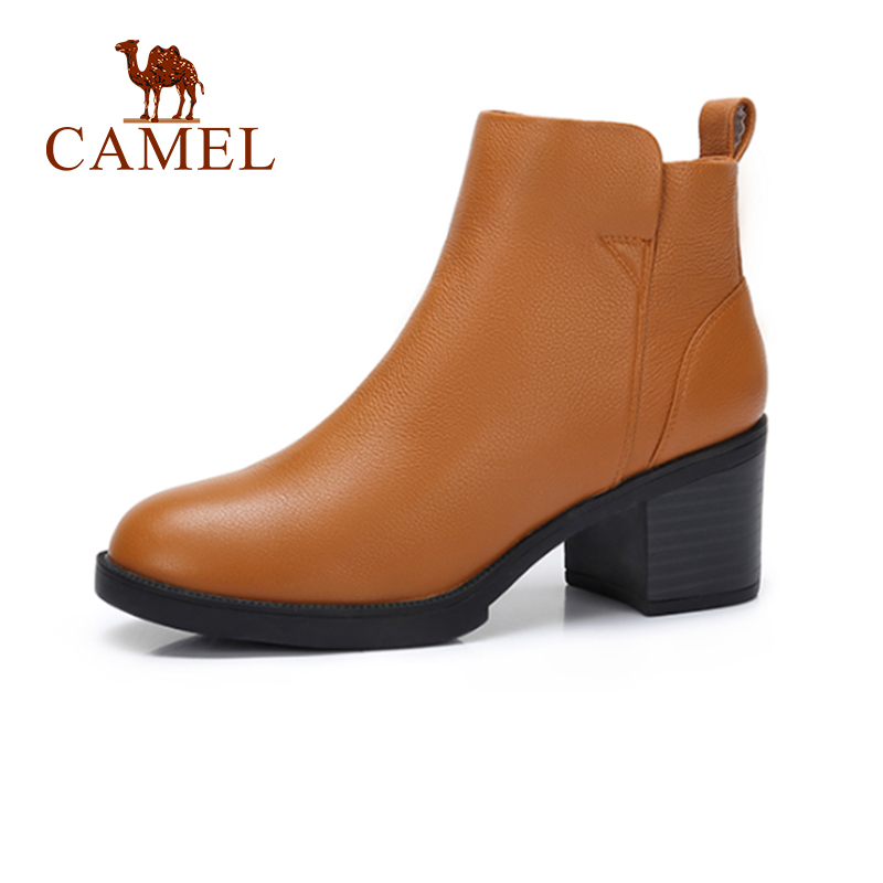 CAMEL Women Leather Short Boots Shoes Winter Sample Flat Martin Short Boots Women Solid Thick Heel