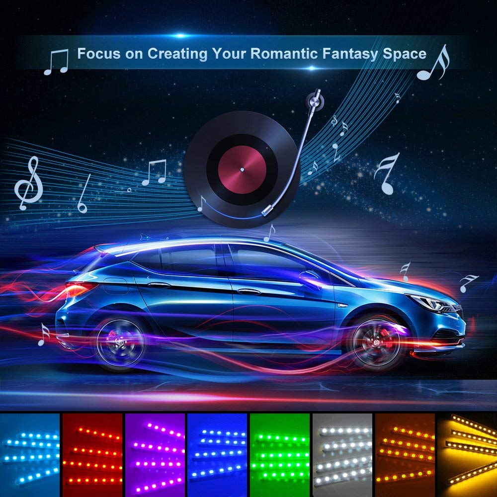 Car Led Strip Light 4pcs 48 Multicolor Music Interior Lights Under Dash Lighting Waterproof Kit With Sound Active In Strips From