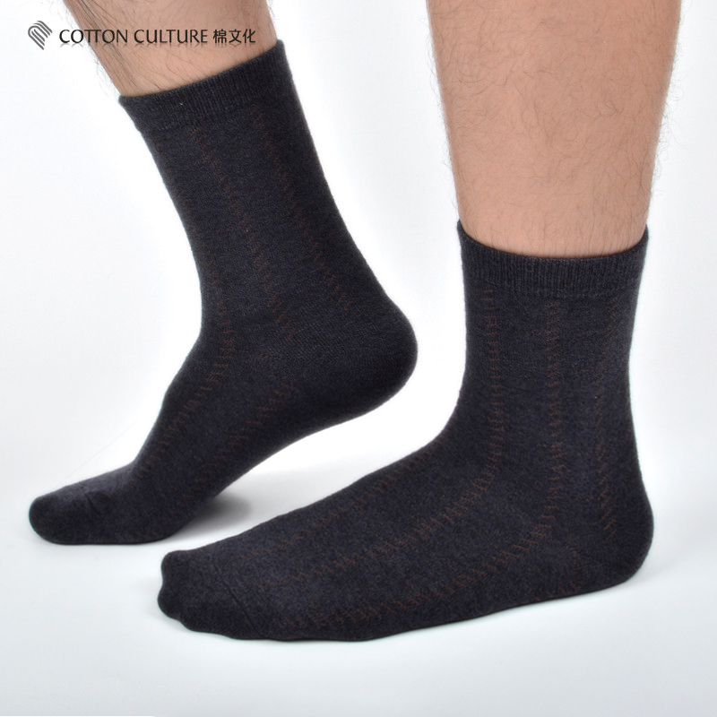 COTTONCULTURE Mens Socks Warm Thicken Wool Cashmere Deodorant Grid Pattern Top Quality Business Dress Solid Black Socks WM805
