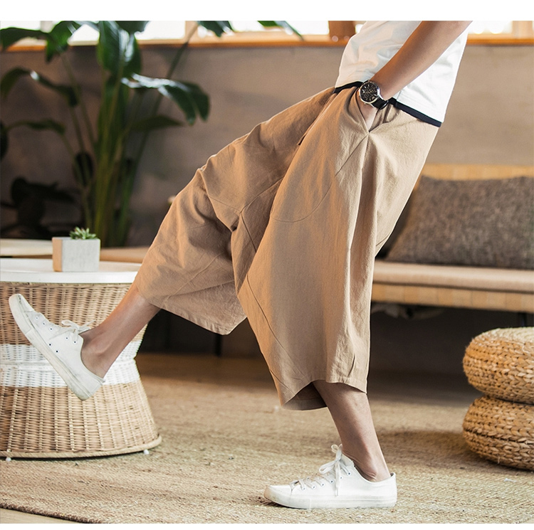 MRDONOO Men Pants Men's Wide Crotch Harem Pants Loose Large Cropped Trousers Wide-legged Bloomers Chinese Style Flaxen Baggy 99