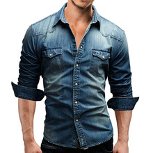 Moda Long Sleeve Slim Fit Risvolto Colletto Tasche Denim Camicia uomo Casual Top(China)