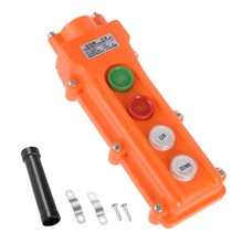 UXCELL Rainproof Hoist Crane Pendant ABS Control Station Push Button Switch Up Down On Off Left Right Orange Accessories