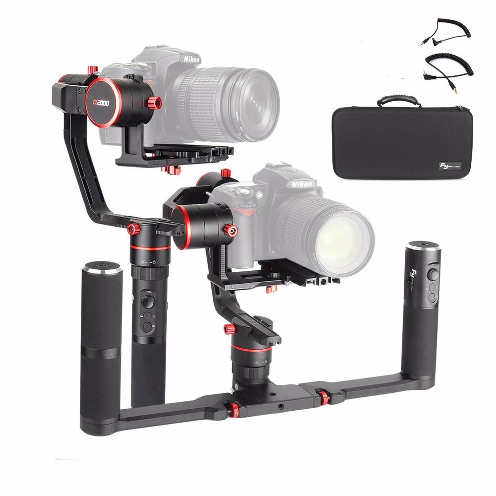 Feiyu a2000 Dual Hand Grip Kit 3-Axis Camera Gimbal FeiyuTech Alpha Stabilizer for Canon 5D Series, SONY A7 With Carrying Case. free shipping feiyu tech g4 gs gimbal 3 axis brushless gimbal for sony hdr az1vr fdr x1000v as series sport auction camera