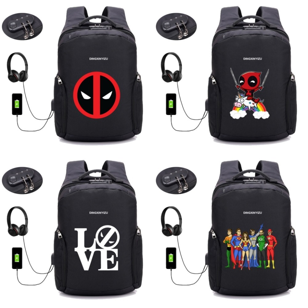 Sacs à dos antivol USB Charge sac à dos Deadpool sac à dos ordinateur portable femmes hommes homme sac à dos de voyage - 2