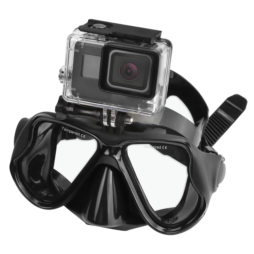 New Swimming Mask Tempered Glasses Diving Mask For Gopro HERO 5 4 3 Yi 4K SJ4000 H9 Camera Scuba Snorkel Mask Go Pro Accessory image