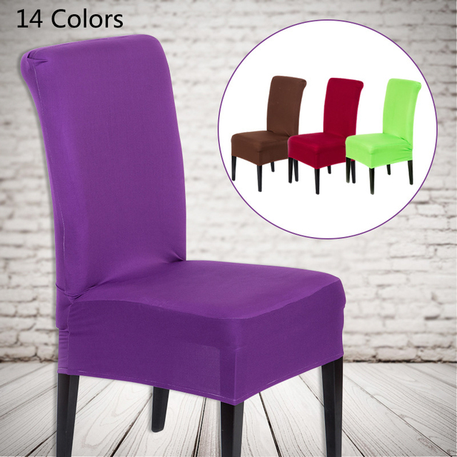1pc New Spandex Colorful Elastic Cloth Chair Covers Universal Stretch Chair  Cover Home Dining Elastic Chair