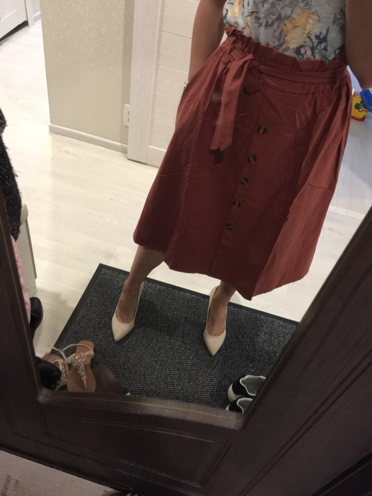 High Waist Midi Skirts Solid Pockets A Line Casual Ladies Bottoms Trendy Female Skirts With Sashes  Hot New For Women photo review