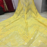 High Quality 5 Yards African Fabric Lace French Lace Rhinestones Embroidery Yellow Tulle Lace Fabric X742 11