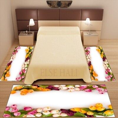 Autres 3 pièces jaune rose crème tulipes fleurs 3d motif imprimé antidérapant microfibre lavable décor chambre tapis tapis ensemble