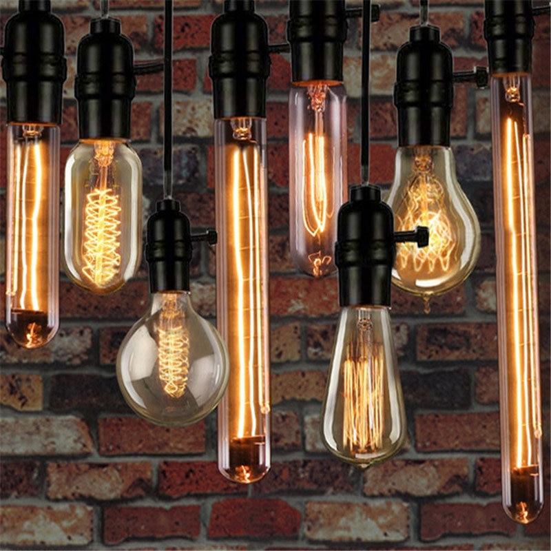 Edison Bulb E27 220V 40W ST64 A19 T30 T10 Retro Lamp Filament Edison Lamp Incandescent Light Bulb Ampoule Vintage Lamp For Decor