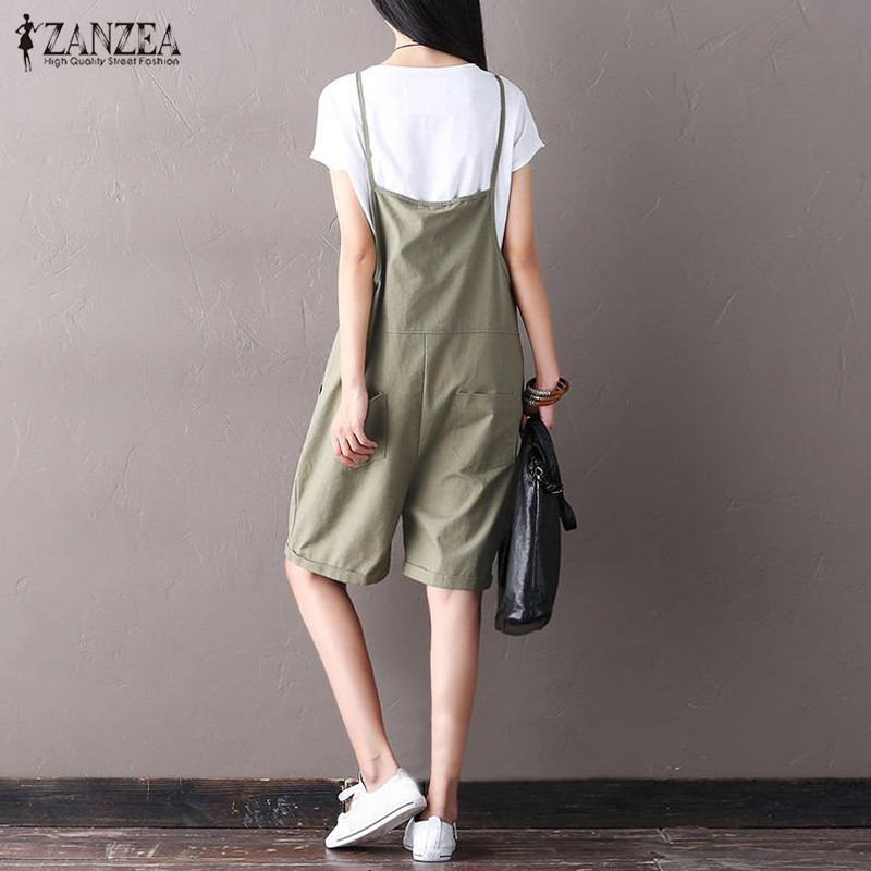 M-5XL ZANZEA Women Oversized Summer Strappy Cargo Pants Playsuit Trousers 2018 Casual Romper Jumpsuit Wide Leg Dungaree Overalls