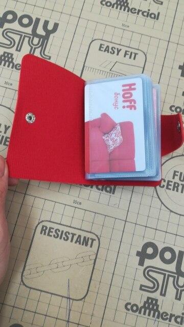 Dames Functie Creditcard Case Kaarthouder 24 Bits Portemonnee Kaart & ID Houders Effen kleur PU lederen visitekaartje Paspoort photo review