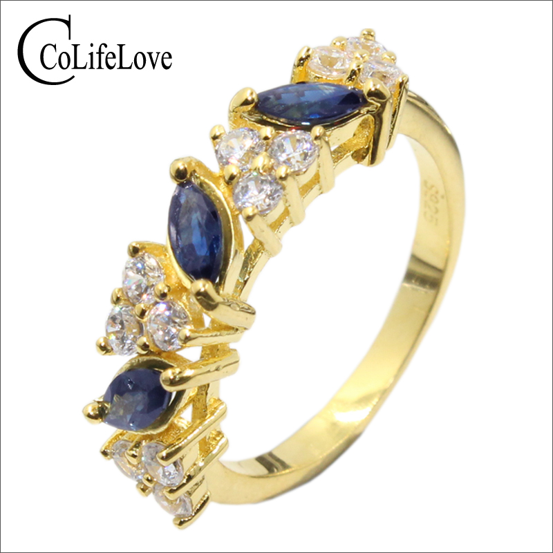 Stylish fashion 925 silver gemstone ring 3 pcs 3mm*6mm natural sapphire ring solid 925 sterling silver sapphire ring for woman stylish daisy flowers solid color ring for women