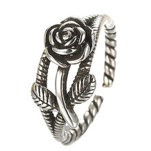 New Silver Hemp Ropes Rose Flower Design Antique Silver Retro Ring Vintage Jewelry(China)