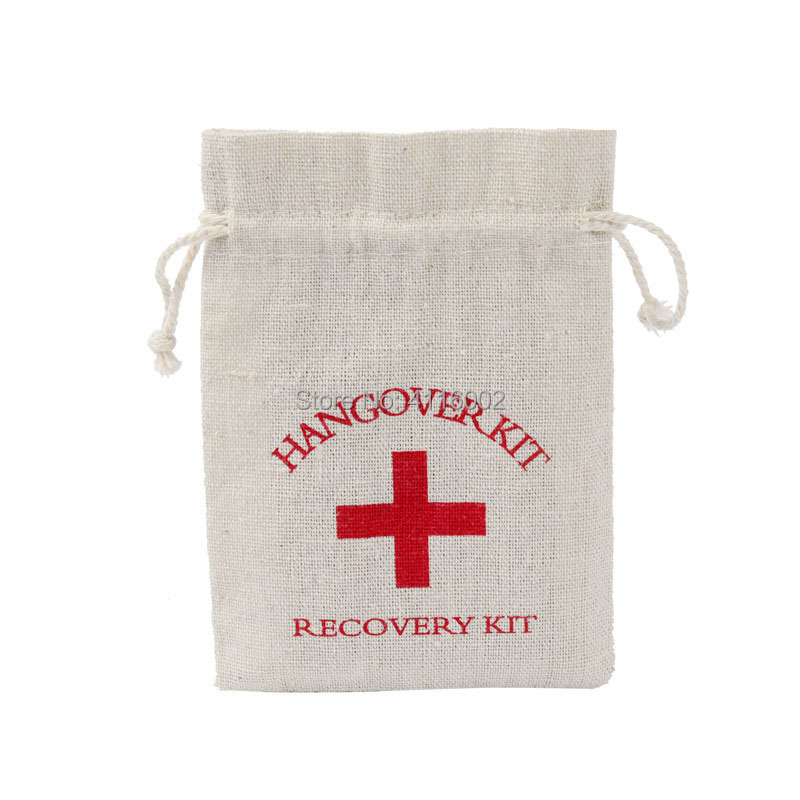 Hangover Kit Wedding Souvenirs Holder Bag 4x6 Cotton Gift First Aid Gift Bags Party Favors For a Holiday Hand Made