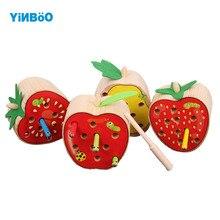 Деревянная детская игрушка фрукты ловли насекомых игры образовательные детские игрушки Отправить подарок ребенку