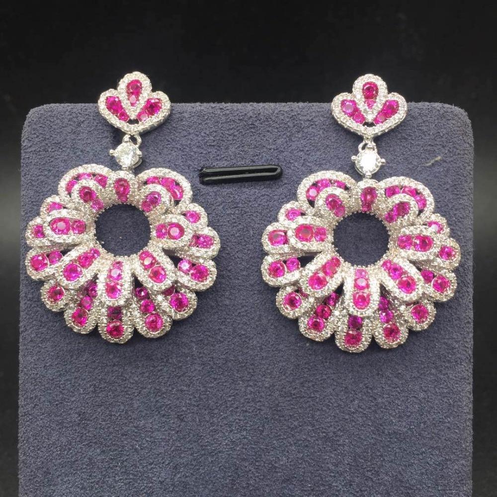 Elegant Stunning Designer Accessories Red AAA Cubic Zirconia Stone Flower Pendant Party Earrings For Women Ear Jewelry