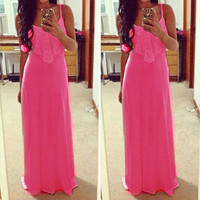 Women Casual Party Maxi Dress Lace Stitching Candy Neon Color Strappy Long Cami Dress Sexy Elegant
