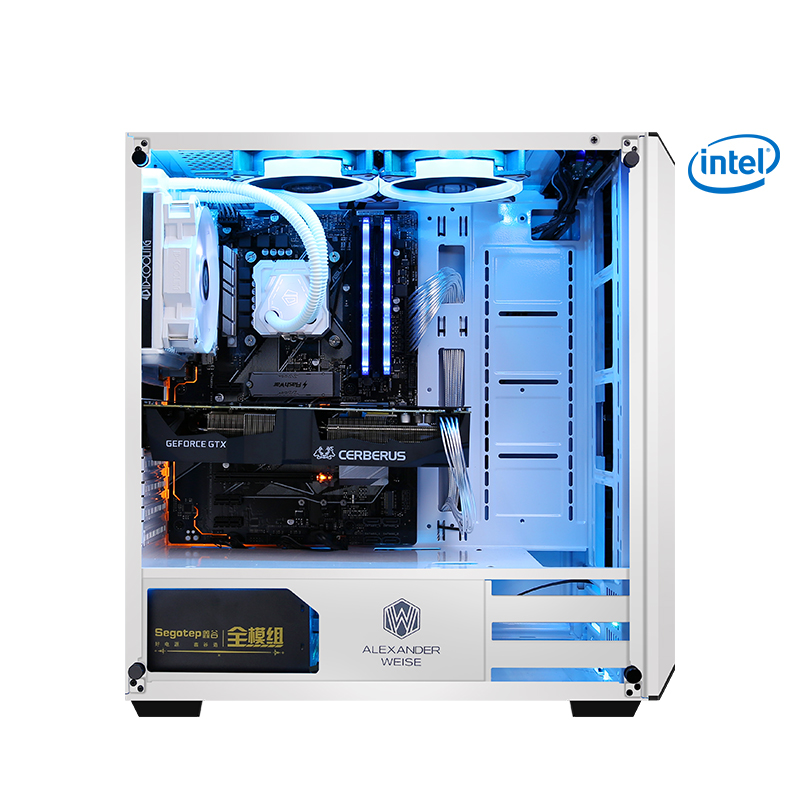 S13-2 Gaming PC Desktop I7 8700K 3.7GHz Intel Core 120mm Water Cooler Z370 SSD+HDD 8GB RAM Gaming Computer White Fans 500W PSU