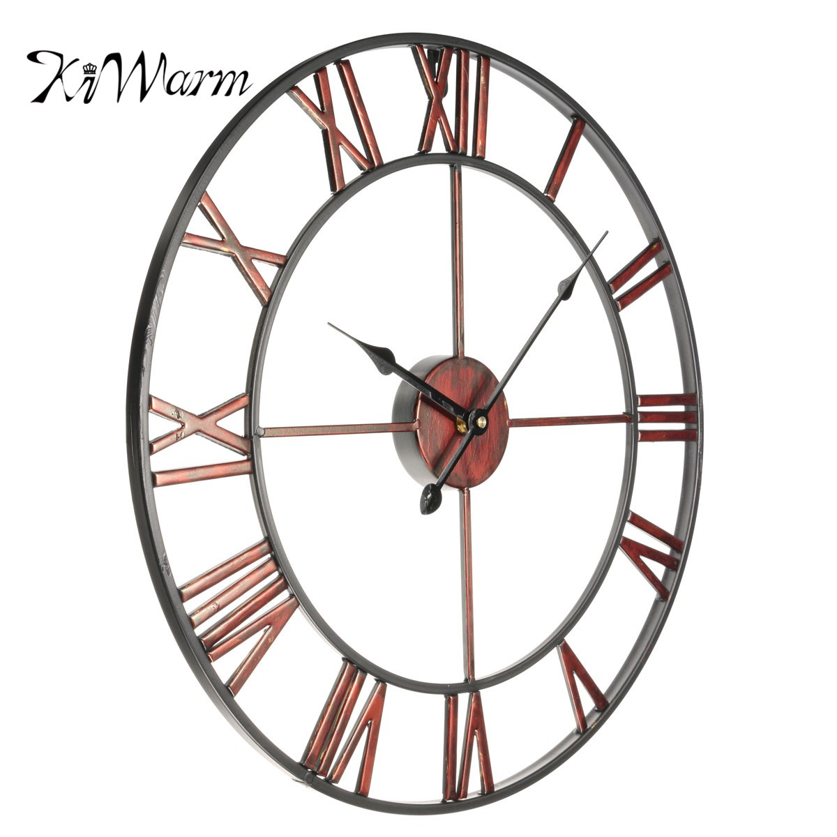KiWarm Classic Large Metal Wrought Iron Vintage Wall Clock Provincial Roman Numerals Art Gear Decoration for Home Craft