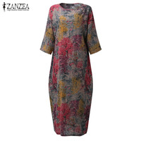 2017 ZANZEA Autumn Vintage O Neck Floral Print 3 4 Sleeve Split Hem Women Casual Loose