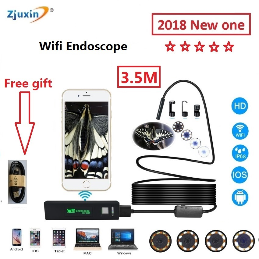 2018 WIFI Endoscope 3.5M New Camera 8mm HD Lens USB Iphone Android endoscope Tablet Wireless Endoscope wifi softwire 1pc 5m wifi endoscope new camera 8mm hd lens usb iphone android borescope ios tablet wireless borescope endoscope wifi